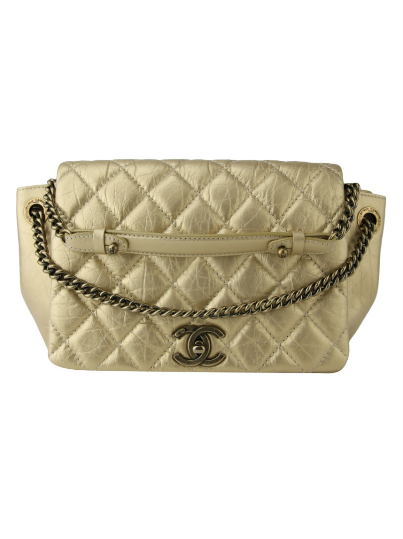 8a59c07de Bolsa Chanel Accordion Dourada Original - OX15 | Etiqueta Única