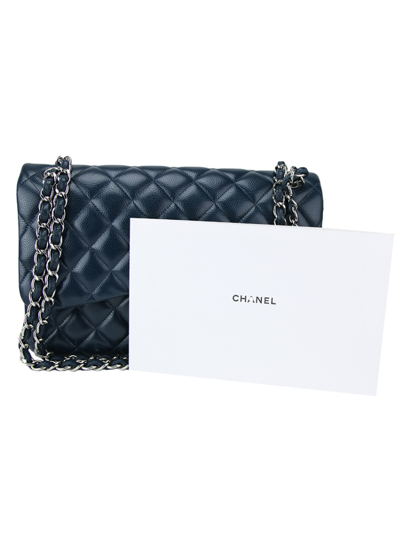 79be8e8504 Bolsa Chanel Double Flap Jumbo Couro Azul Original - CNW7