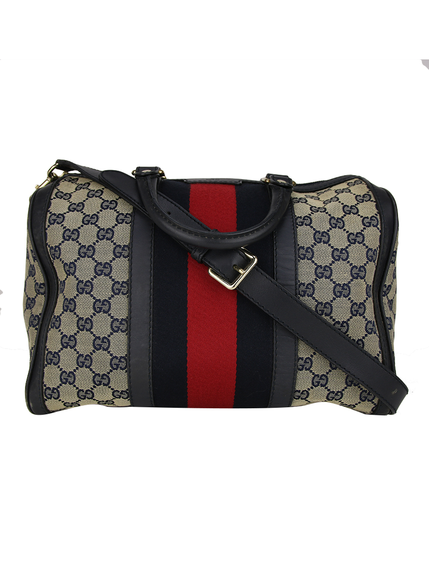 ef6874aa6 Bolsa Gucci Vintage Web Original Boston GG Canvas Original - GQH2 ...