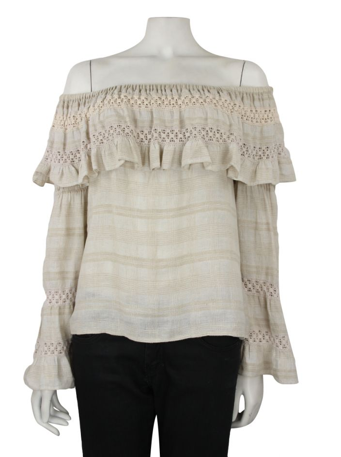 Blusa Mixed Ombro a Ombro Bege