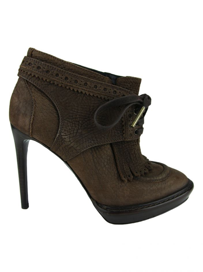 Ankle Boot Burberry Couro Marrom