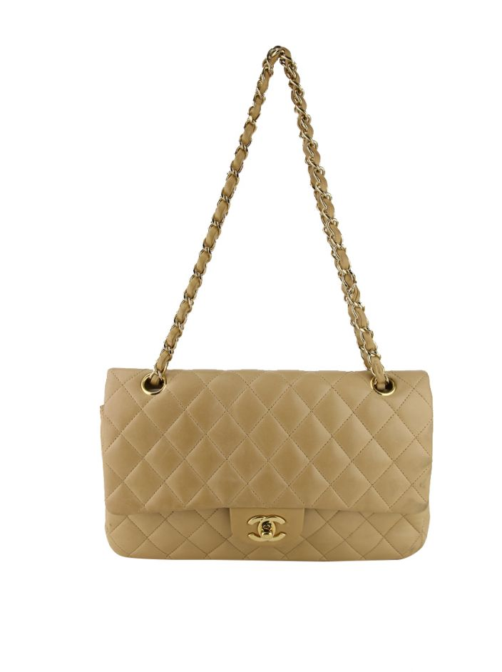 Bolsa Chanel Double Flap Small Bege