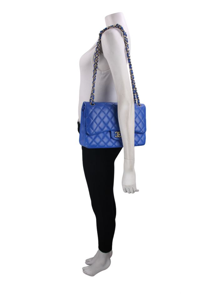 Bolsa Chanel Double Flap Azul