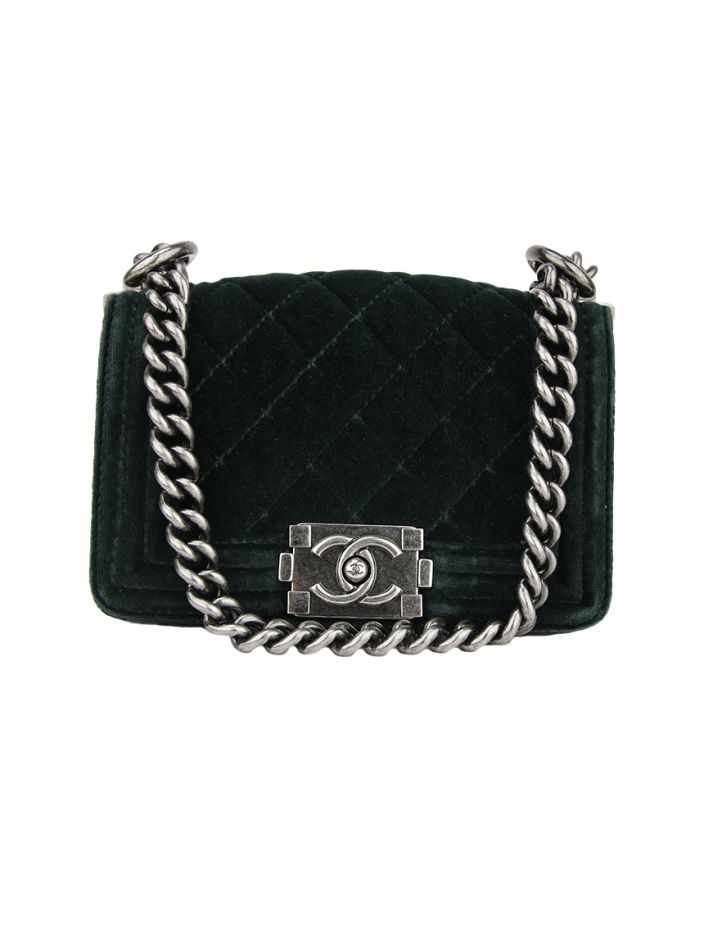046b11be0 Bolsa Chanel Mini Boy Veludo Verde Original - BHB36 | Etiqueta Única