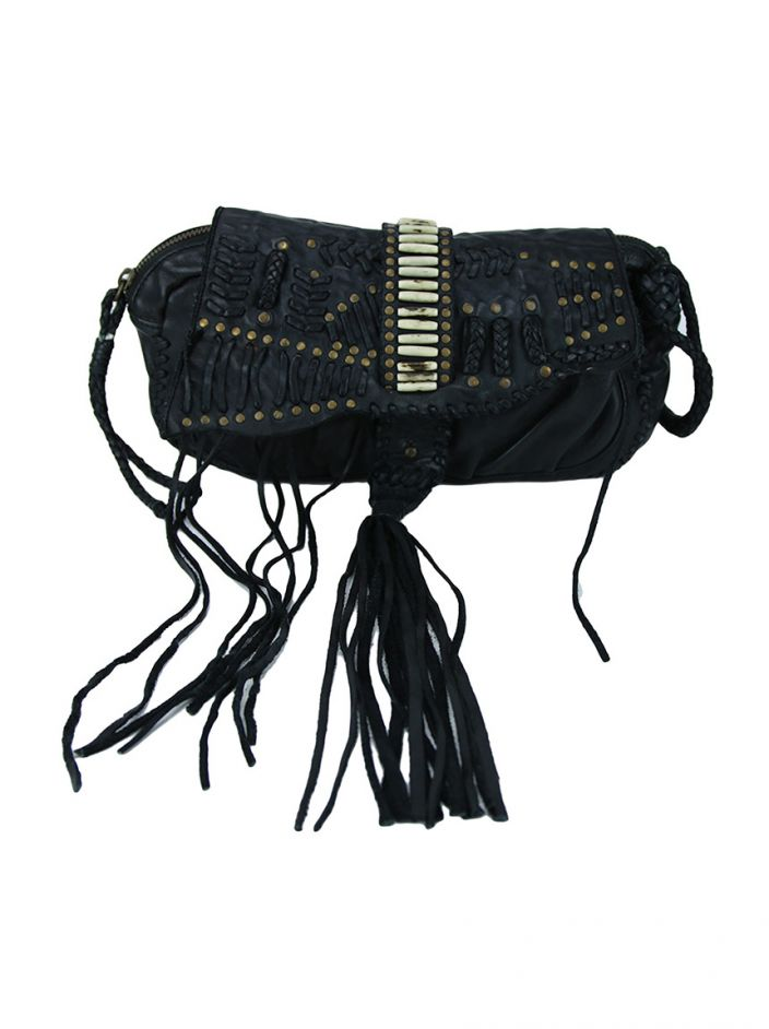 Clutch All Saints Couro Trançado Preto