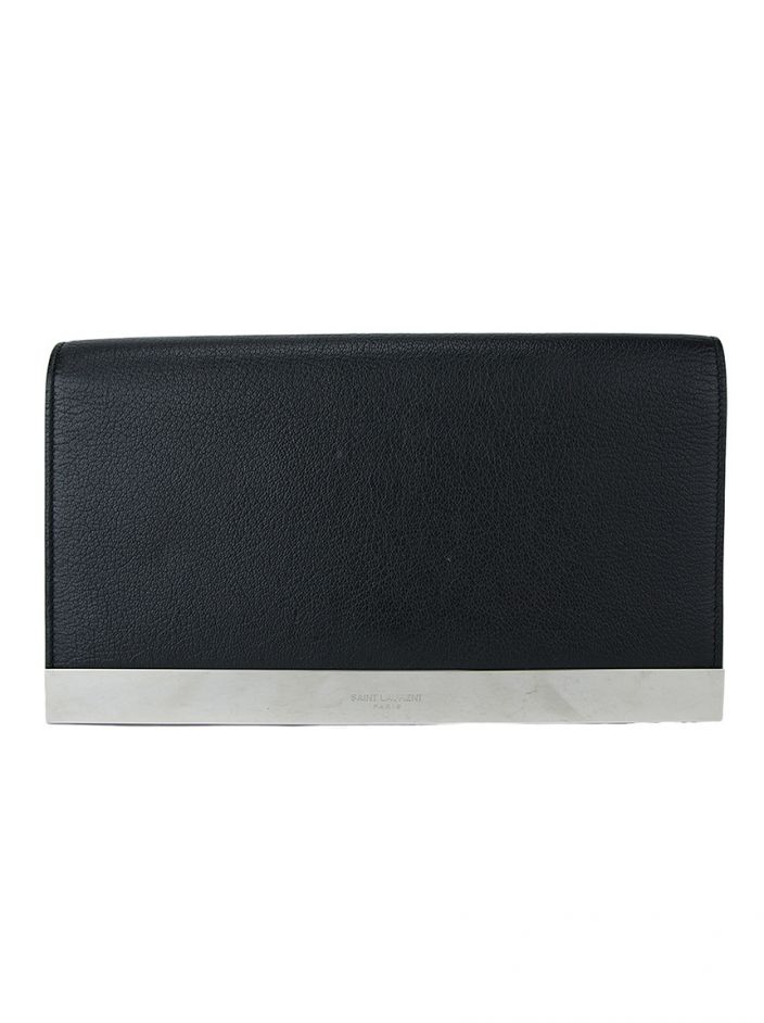 Clutch Saint Laurent Paris Couro Preto
