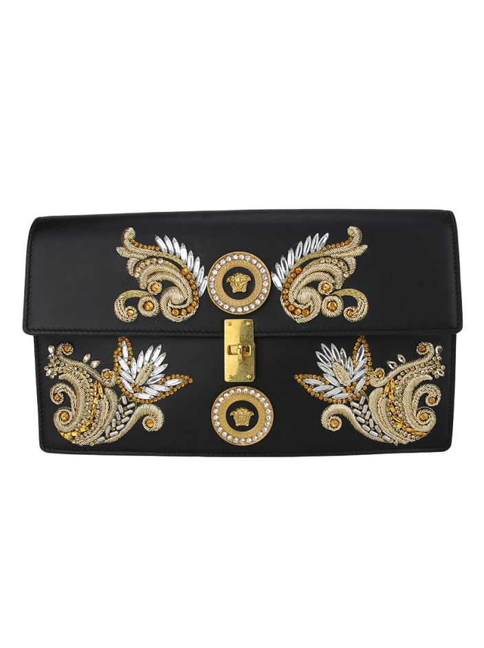 Clutch Versace Embroided Icon Preta