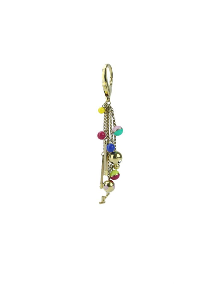Chaveiro Louis Vuitton Multicolor Goldtone Chain Grelots Dourado