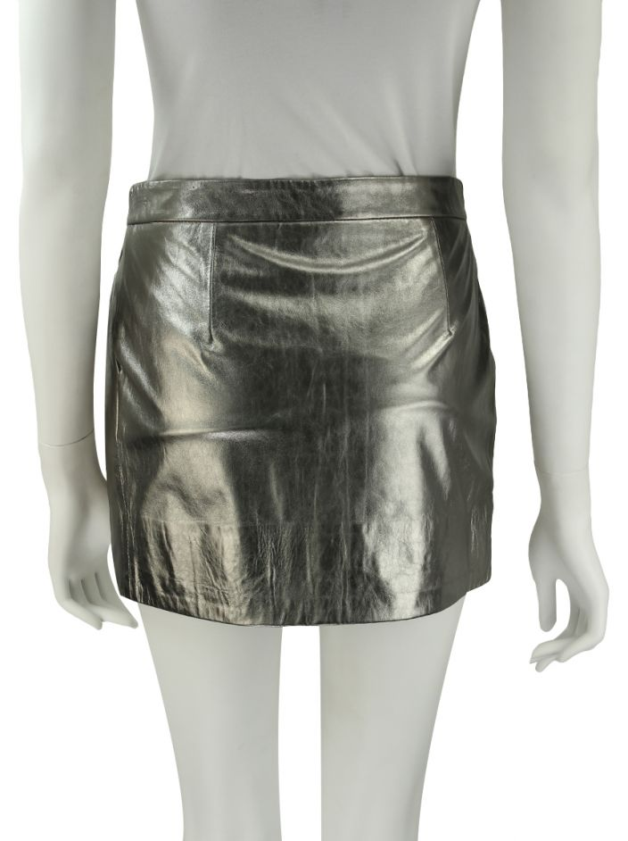 Saia Diane Von Furstenberg Melissa Metallic Leather Skirt Couro