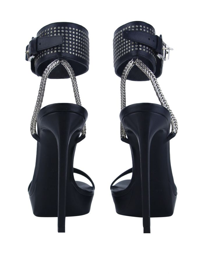 Sandália Saint Laurent Leather Ankle Strap Preto