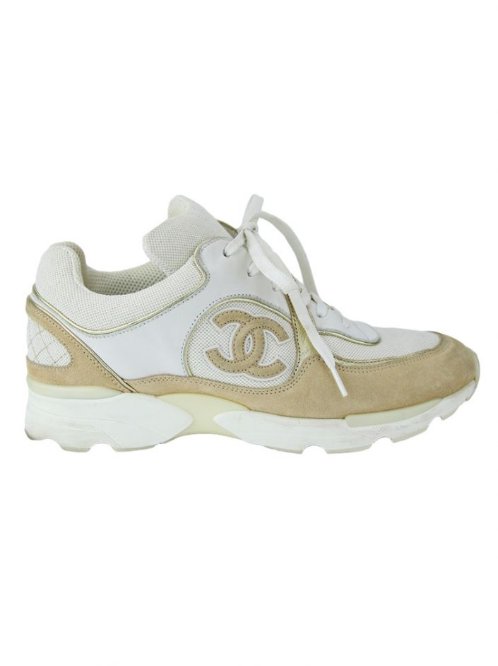 Tênis Chanel CC Low-Top Bege