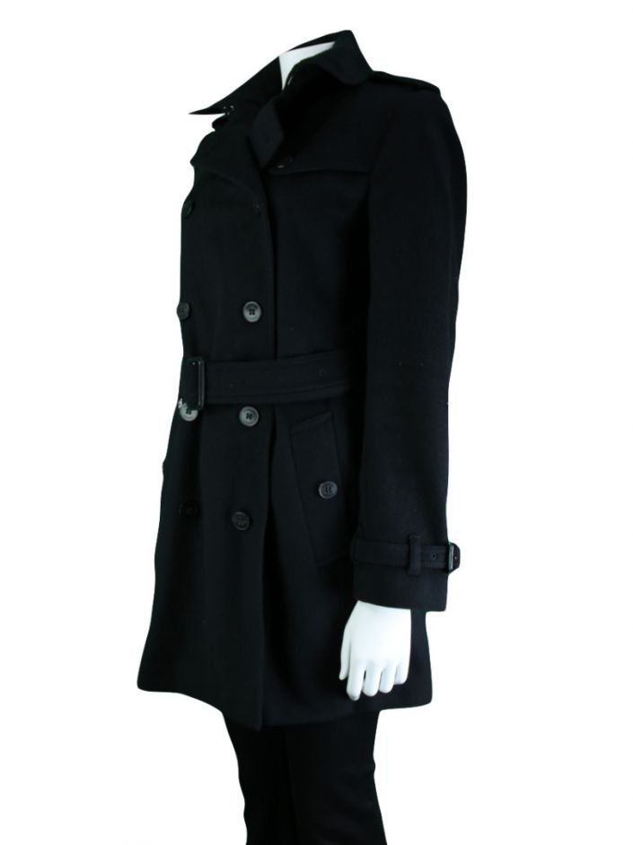 Trench Coat Burberry Lã Preto