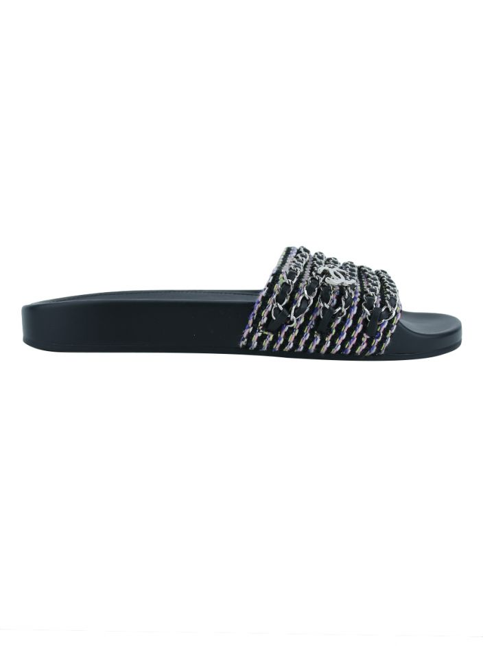 Sandália Chanel Tweed Chain Link Slide Sandals Colorida