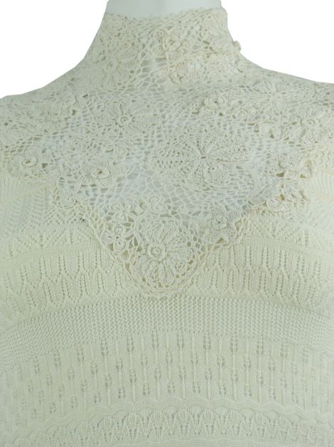 Blusa Ralph Lauren Collection Tricot e Renda Creme
