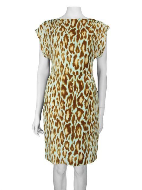 Vestido Christian Dior Seda Animal Print