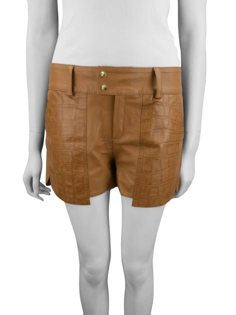 Short Thelure Couro Caramelo