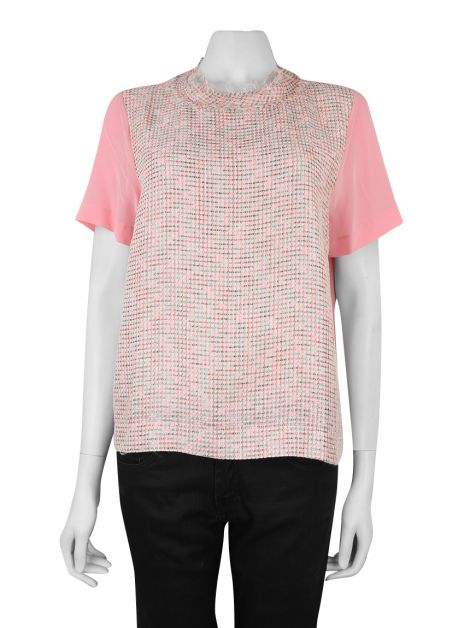 Blusa Mixed Tweed Rosa