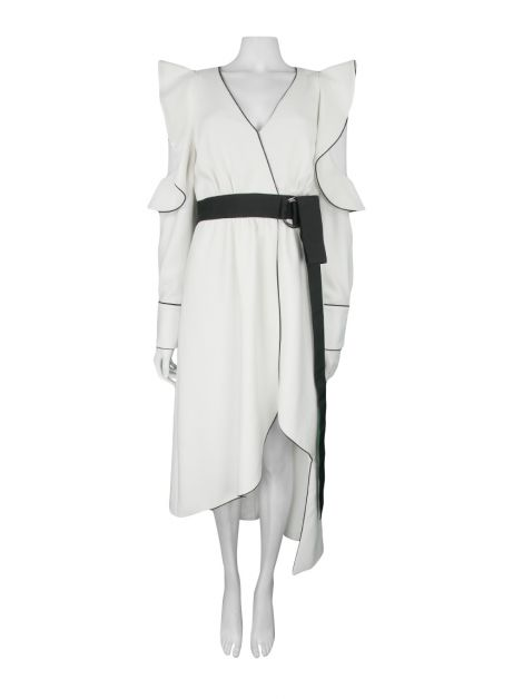 Vestido Self-Portrait Midi Off-White