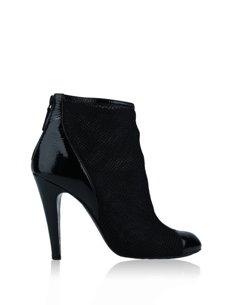 Ankle Boot Chanel Mesh Knit Preta