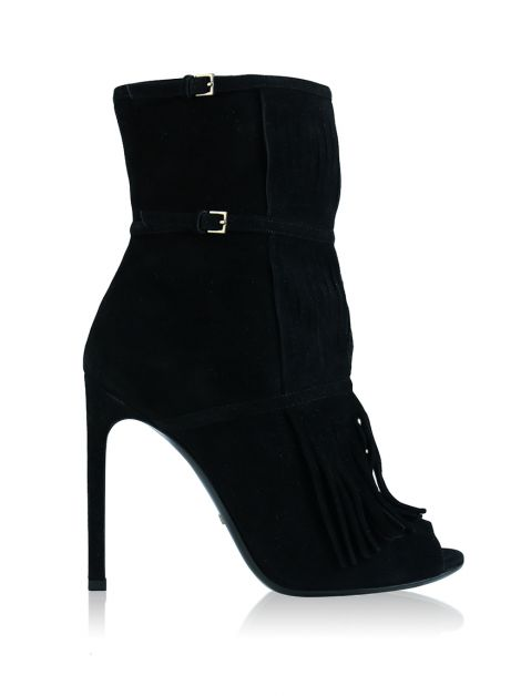 Ankle Boot Gucci Becky Fringe Gladiator Peep Toe Preto