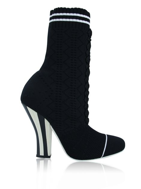 Bota Fendi Stretch-Knit Sock Boots Preta