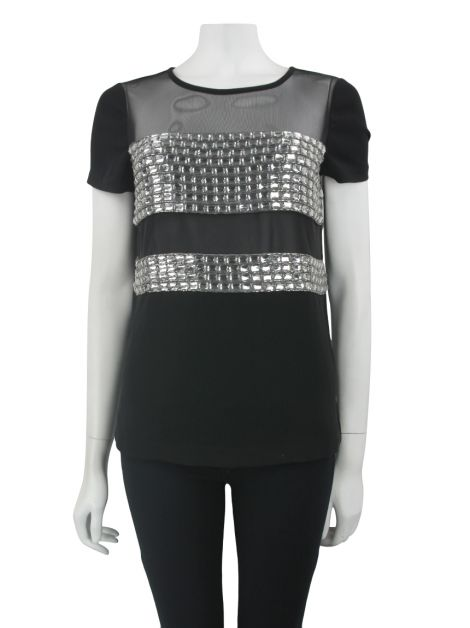 Blusa Diane Von Furstenberg Kayla Square All Over Crystal Preto
