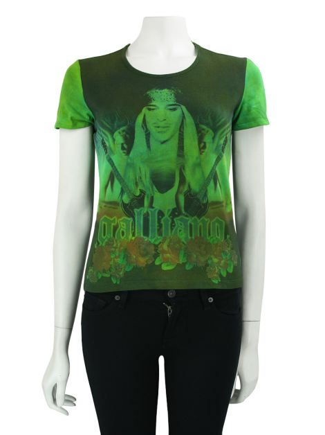Blusa John Galliano Estampada Verde