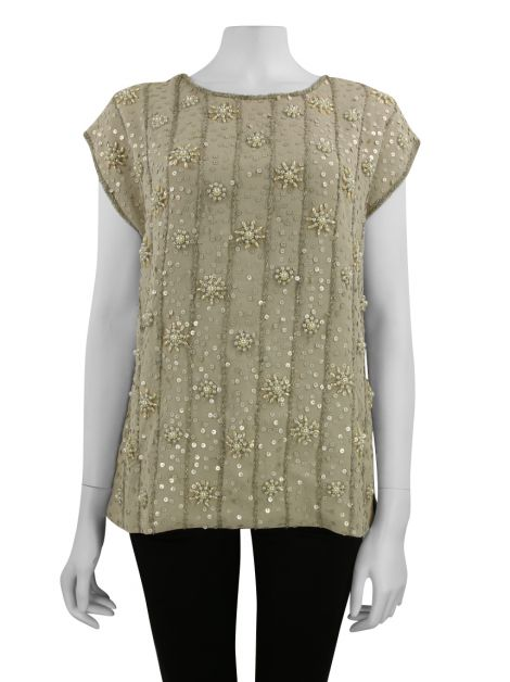 Blusa Mixed Crepe Bordado