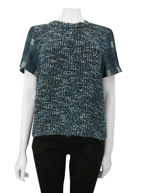 Blusa Mixed Tweed Azul