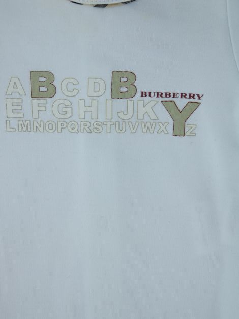 Body Burberry Algodão Off White Infantil