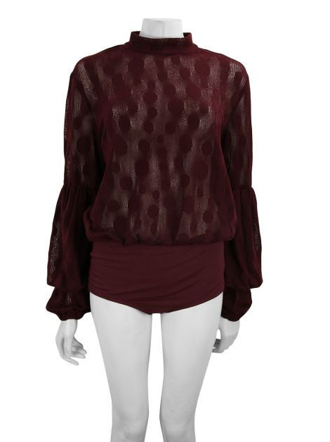 Body Mixed Renda Burgundy