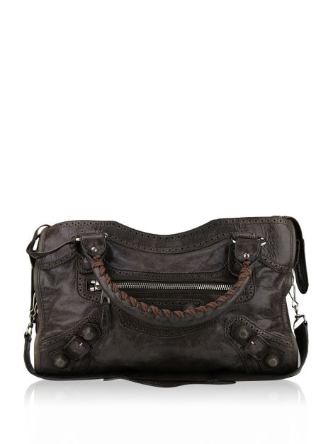 Bolsa Balenciaga Giant Covered Brogues City Marrom