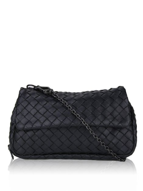 Bolsa Bottega Veneta Messenger Intrecciato Crossbody Preta