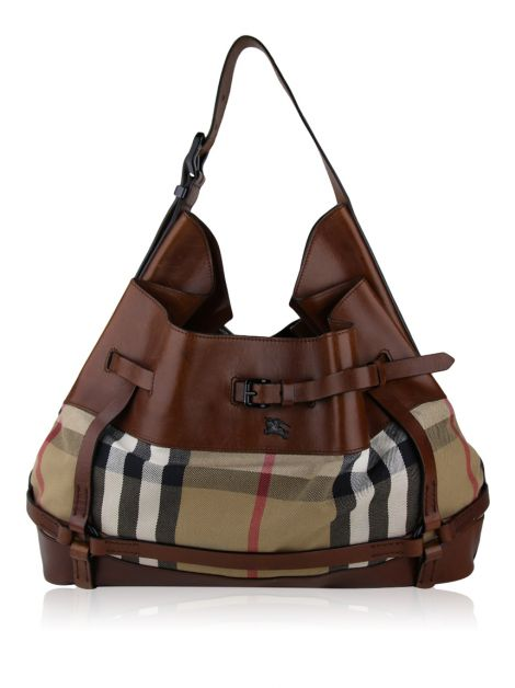Bolsa Burberry Bridle House Check Kenton Marrom