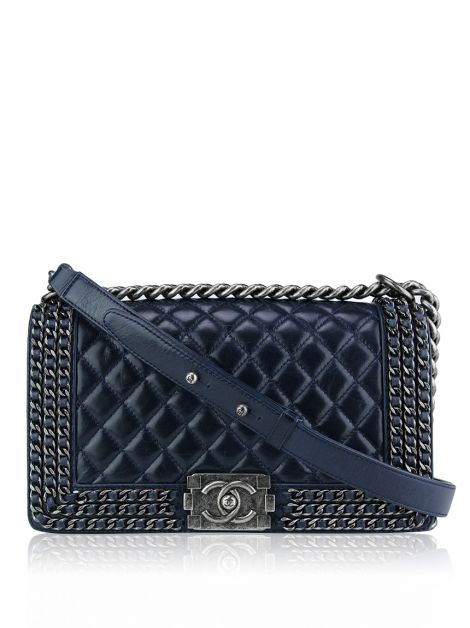 Bolsa Chanel Boy Distressed Chain Around Azul