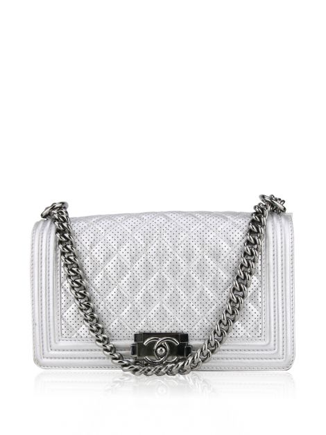Bolsa Chanel Boy Medium Prata