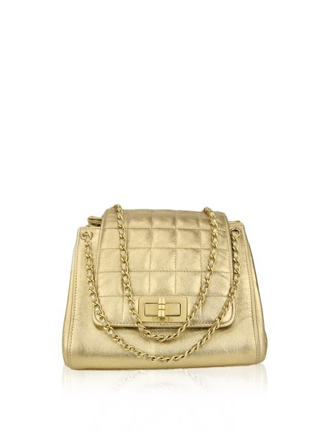 Bolsa Chanel Chocolate Bar Accordion Dourada