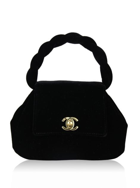 Bolsa Chanel Evening Velvet Top Handle Preta
