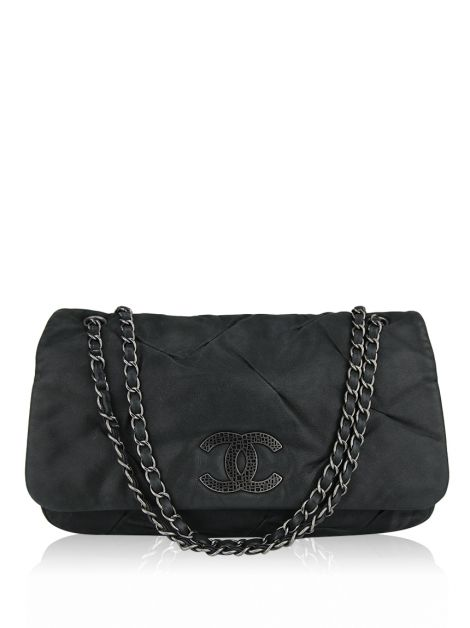 Bolsa Chanel Iridescent Pleated Leather Accordion Flap Bag