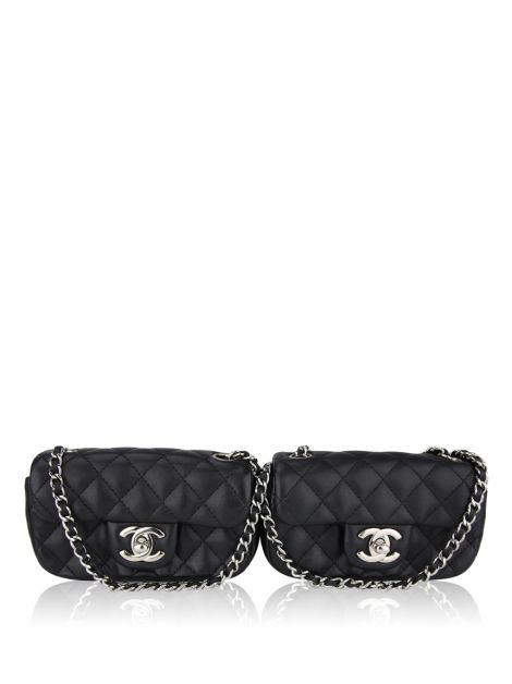 Bolsa Chanel Lambskin Quilted Double Mini Flap Preta