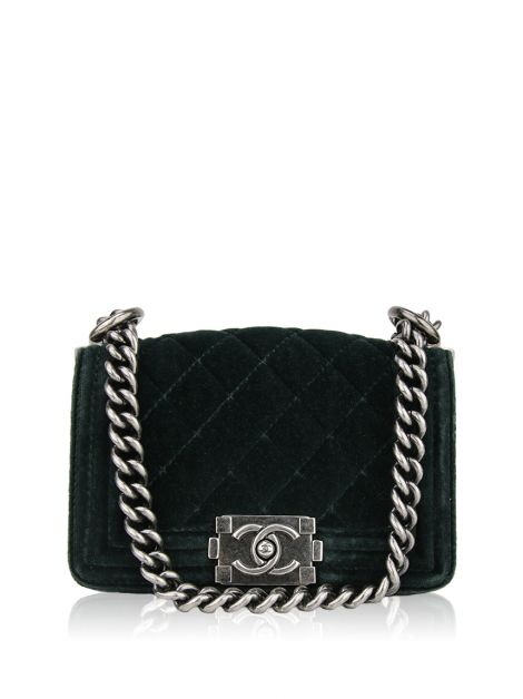 Bolsa Chanel Mini Boy Veludo Verde