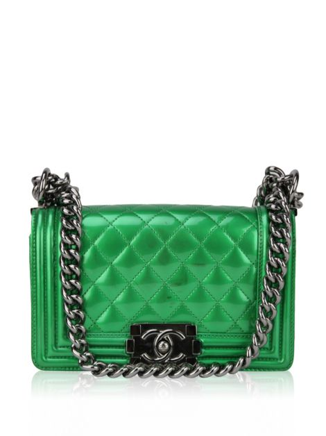 Bolsa Chanel Small Boy Metalizada Verde