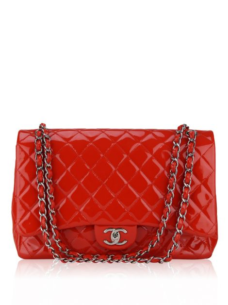 Bolsa Chanel Verniz Double Flap Jumbo