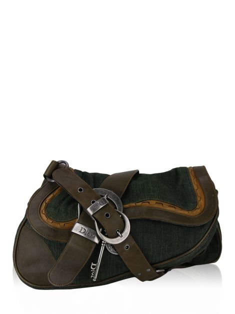 Bolsa Christian Dior Denim Double Gaucho Saddle Verde