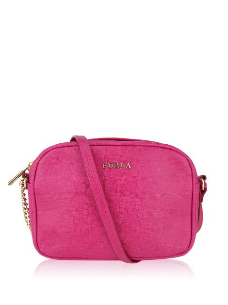 Bolsa Furla Miky Small Leather Crossbody Rosa