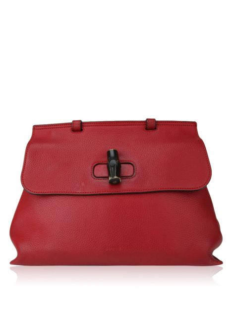 Bolsa Gucci Bamboo Daily Leather Top Handle Bag Vermelho