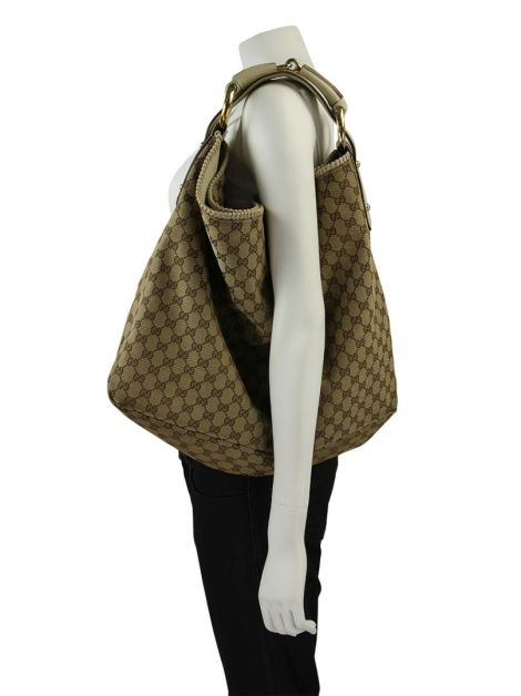 Bolsa Gucci GG Signature Large Horsebit Bag Monograma