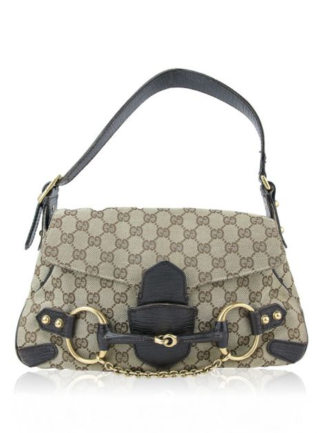 Bolsa Gucci Monogram Horsebit Chain Flap Brown Monograma