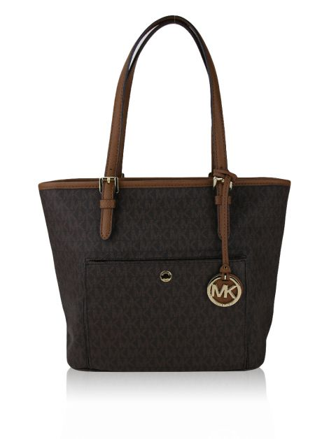 Bolsa Michael Kors Jet Set Snap Pocket Monograma