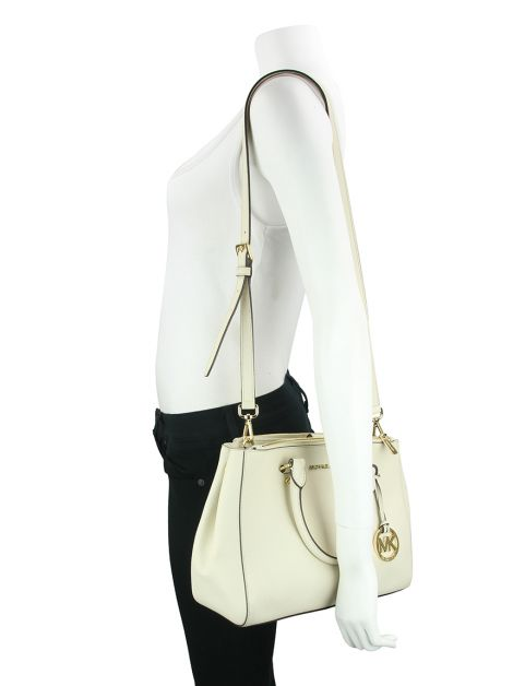 Bolsa Michael Kors Sutton Medium Satchel Off-White